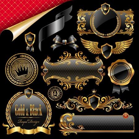 Vector set di royal oro e nero elementi di design