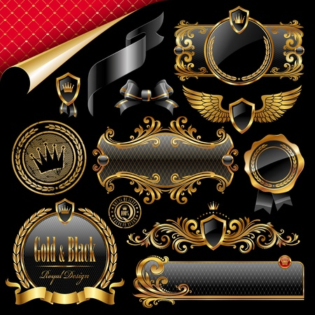 nobility: Vector set of royal gold and black design elements