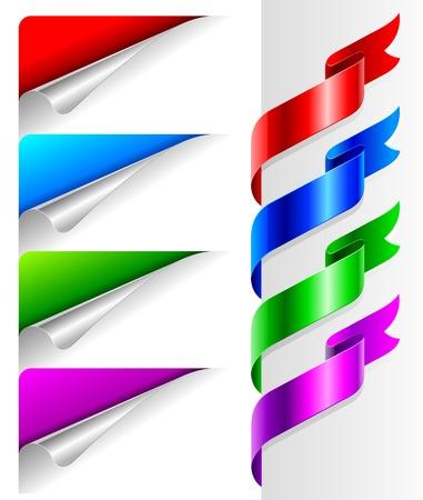 autocollant: Vecteur set - coins de papier pli�e de couleurs et de ruban