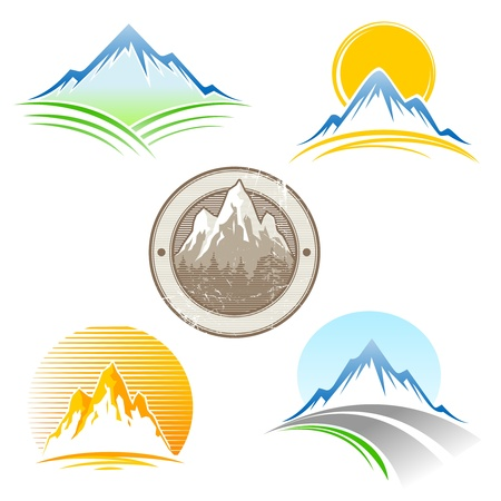 top of mountain: Set of vector mountains emblem Illustration