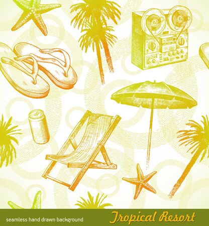 Tropical beach resort - vector seamless hand drawn background Vector