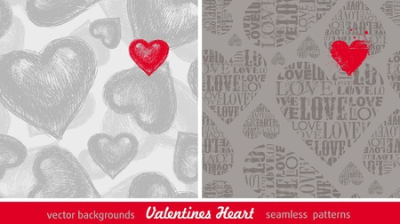 Two seamless vector background with Valentines hearts Stock Vector - 9945814