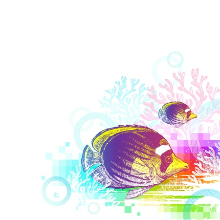 butterflyfish: Vector abstract illustration - underwater world with hand drawn tropical fish