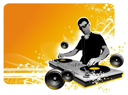 dj turntable: Vector illustration  - DJ