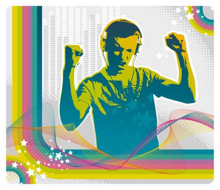 Young man listens to music on headphones - vector illustration Vector