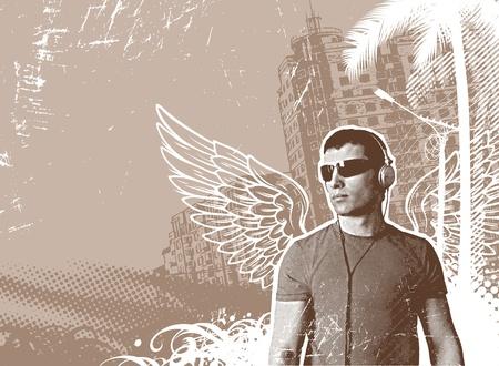grunge wings: L'uomo con le ali e cuffie su un paesaggio urbano - illustrazione vettoriale