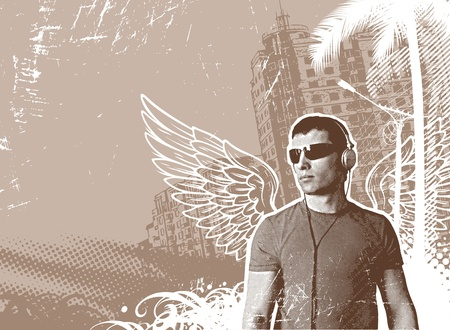 male angel: Man with wings & headphones on a urban landscape - vector illustration Illustration