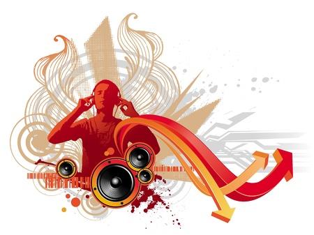 earbud: Hombre con auriculares se escucha m�sica - ilustraci�n abstracta de vector