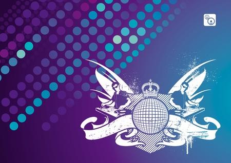 turntable: Vector music emblem with DJ Illustration
