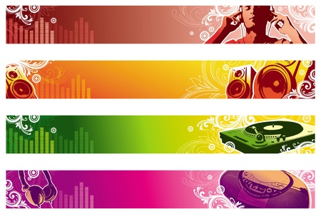 earbud: Banners de vector de m�sica web Vectores