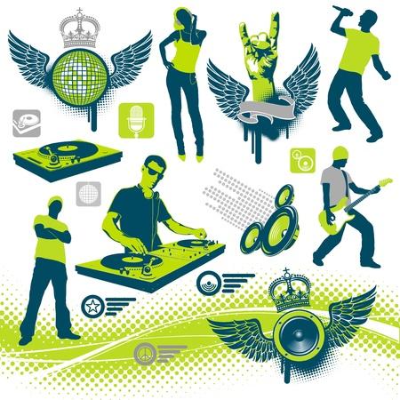 party dj: Ensemble de vecteurs musicaux