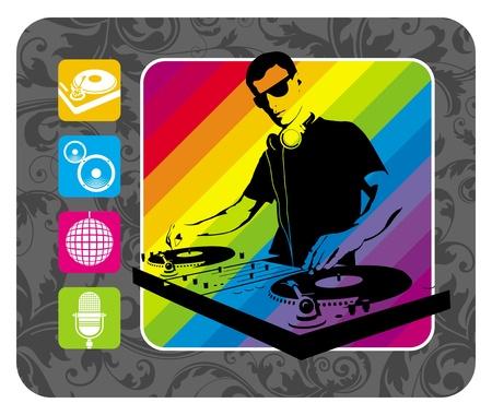 rock logo: DJ, turntable & musical icons - vector illustration
