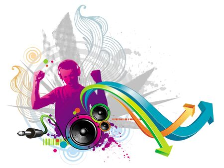 earphone: Abstract vector illustration - Man listens to music