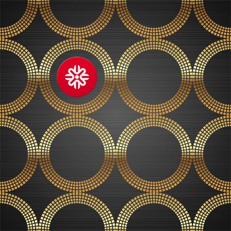 shiny: Vector abstract seamless background with golden luxury round elements on a dark metal texture