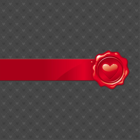 Vector abstract Valentines illustration with heart sealing wax stamp Vector