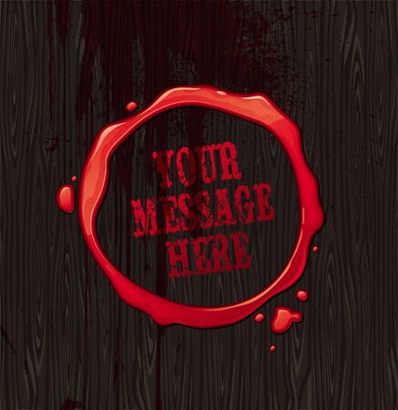 blood stain: Vector bloody round frame on black wood texture background