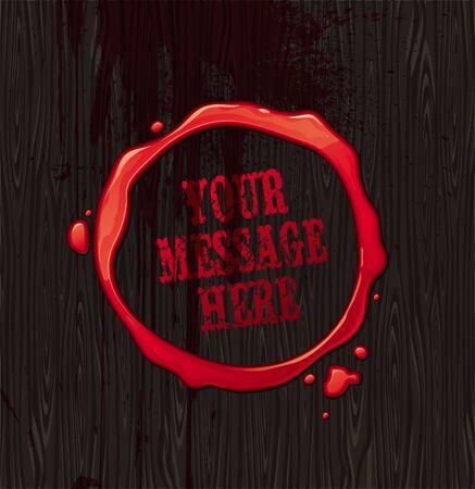 hemorragia: Vector sangriento ronda marco sobre fondo negro textura de madera