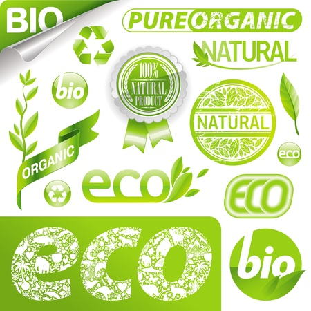 saludable logo: Vector conjunto de signos de eco, etiquetas, emblemas & logotipo
