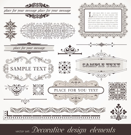 Vector set of ornate page decor elements: borders, banner, deviders, ornaments and patterns Vector