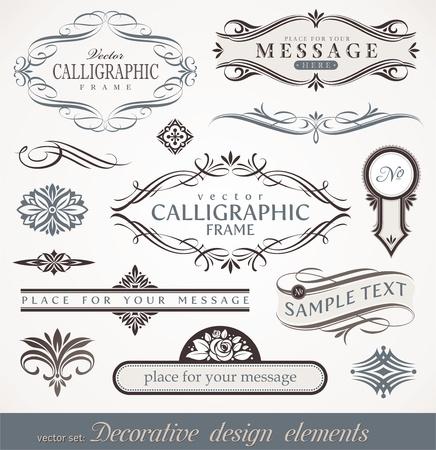 calligraphique: �l�ments de conception calligraphiques d�coratifs de vecteur & d�cor de page Illustration