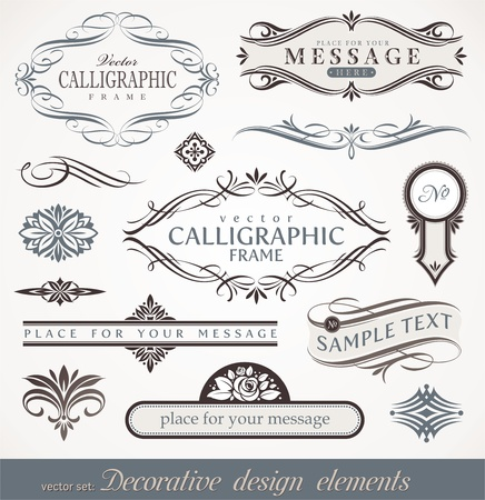 calligraphic design: Vector decorative calligraphic design elements & page decor