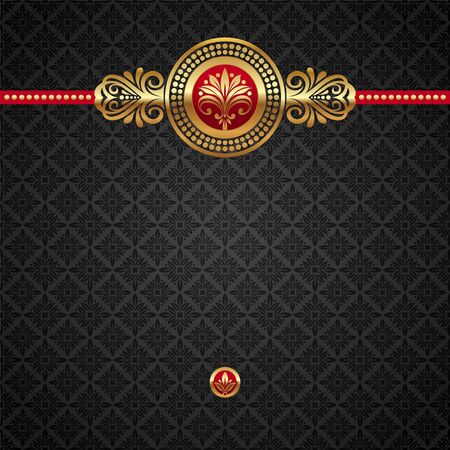 accent: Vector decorative ornamental background with golden elements