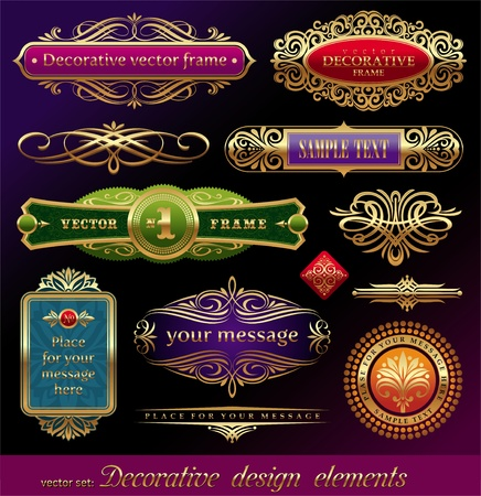 Vector set of golden ornate page decor elements:  banners, frames, deviders, ornaments and patterns on dark background Vector