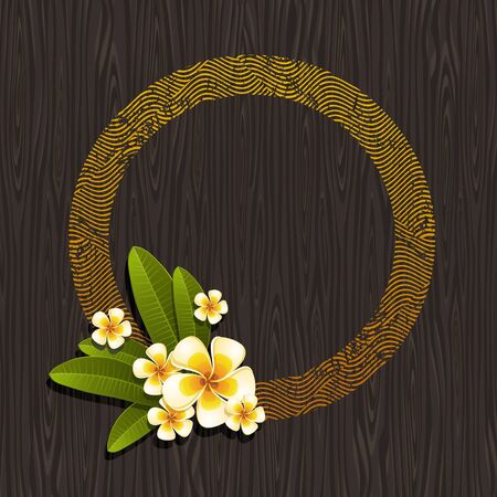 frangipani: Vector illustration - Abstract round frame & tropical flowers frangipani on a black wood background Illustration