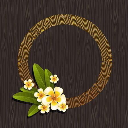 Vector illustration - Résumé cadre rond et tropicale de frangipanier fleurs sur un fond de bois noir