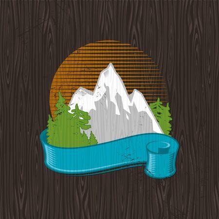 ebony tree: Vector illustration - color landmarks emblem painting on a black wood board