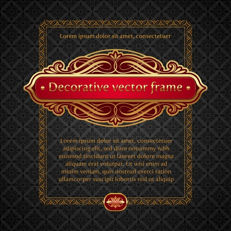 dingbats: Vector illustration - Luxury golden vintage calligraphical framed labels