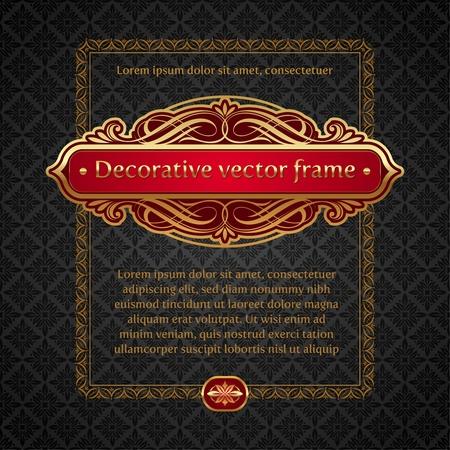 Vector illustration - Luxury golden vintage calligraphical framed labels