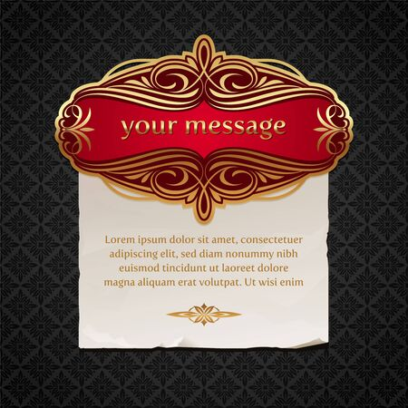 framed: Vector illustration - Luxury vintage golden framed labels with paper banner Illustration