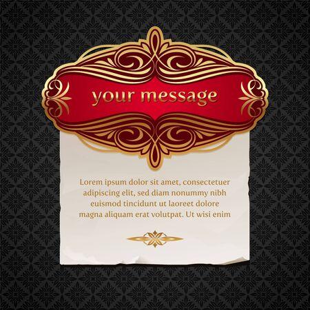 Vector illustration - Luxury vintage golden framed labels with paper banner