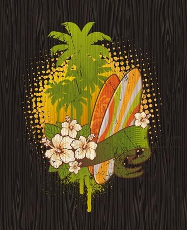 surf board: Ilustraci�n vectorial - Tropical surf emblema pintura en un tablero de madera