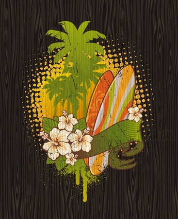 Vector illustration - Tropical surf emblem painting on a wood board Stock Vector - 9945800
