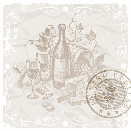 wine bottle: Vector vintage still life with wine and foods