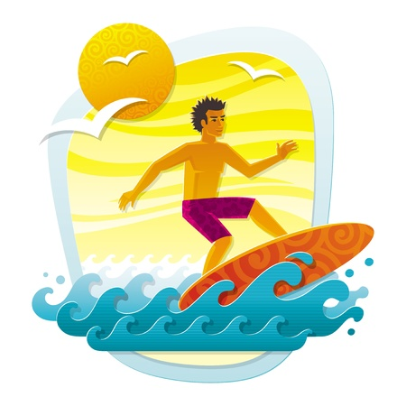 sunburnt: Vector illustration with surfer in tropical sea - imitation of applique from color paper shapes Illustration