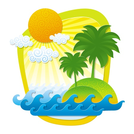 uninhabited: Vector illustration with tropical landscape - imitation of applique from color paper shapes