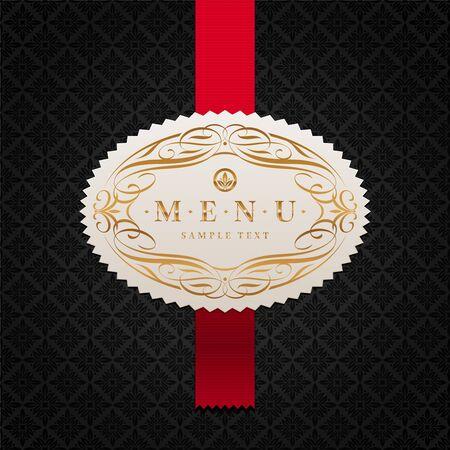 Fondo de vector con etiqueta de menú ornamentada enmarcado Ilustración de vector