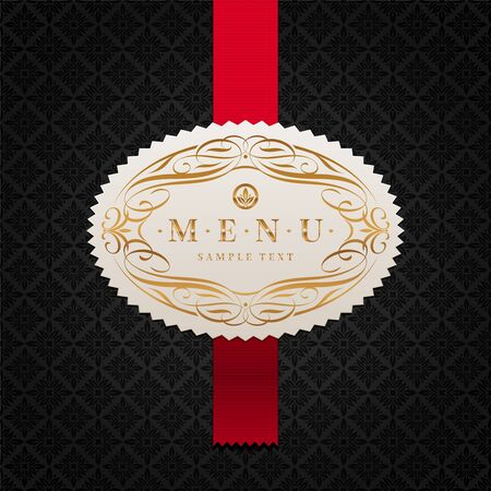 black ribbon: Vector pattern background with framed ornate menu label