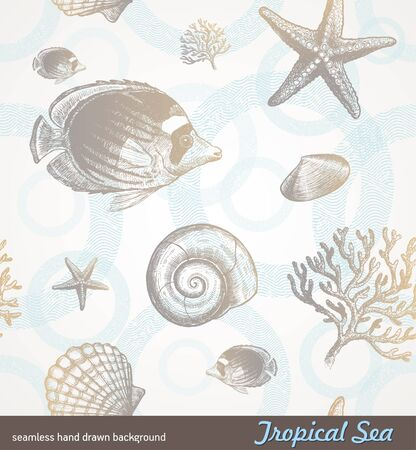 coral ocean: Vector seamless hand drawn background - underwater tropical fauna