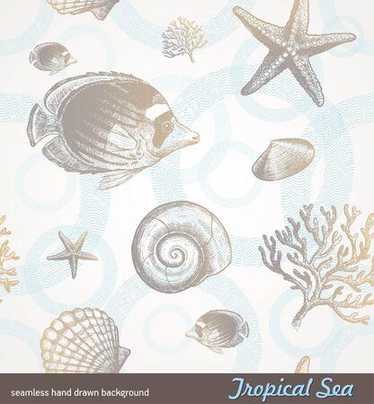 arrecife: Vector transparente mano fondo dibujada - fauna tropical submarina