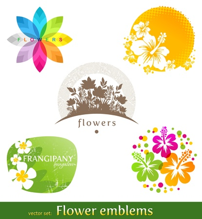 tropical flowers: Vector set - flower emblems and labels