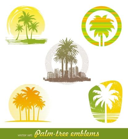 palmeras: Conjunto de vectores - emblemas de �rbol de Palma & etiquetas Vectores