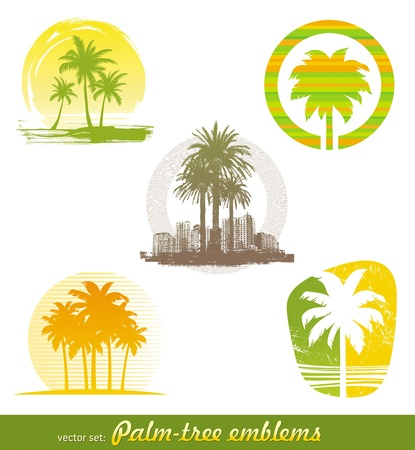 beach sunset: Vector set - palm tree emblems & labels