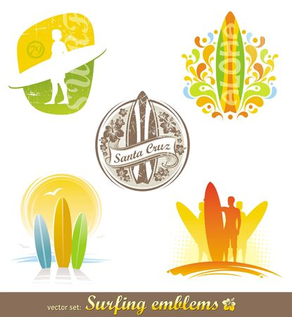 Vector set - surfing emblems & labels Stock Vector - 9953456