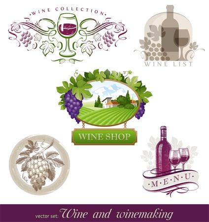 uvas vino: Set - vinos & vitivin�colas emblemas & etiquetas en diferentes estilos de vectores