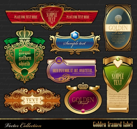 Vector set of golden luxury framed labels Vector