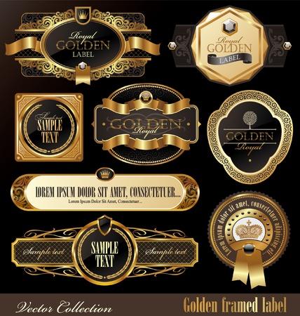 nobile: Set di vettore di lusso dorato ornato fotogrammi